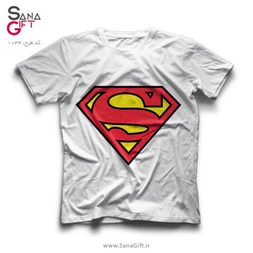 تی شرت سفید طرح لوگو سوپرمن