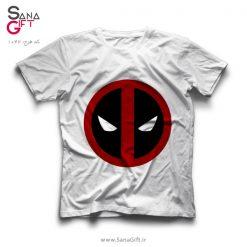 تی شرت سفید طرح لوگو Deadpool