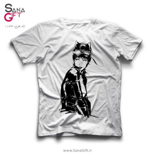تی شرت سفید طرح Catwoman