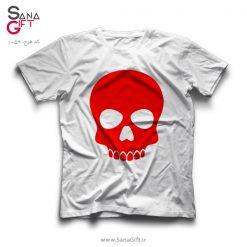 تی شرت سفید طرح اسکلت قرمز