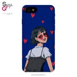 قاب موبایل طرح نقاشی دختر آبی با قلب های قرمز