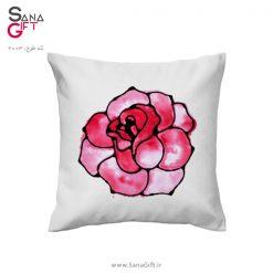 کوسن طرح نقاشی گل رز با آبرنگ
