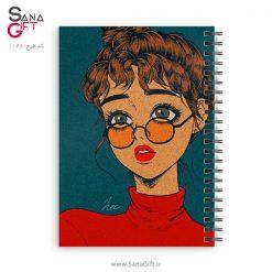 دفتر سیمی طرح نقاشی دختر مو فرفری عینکی