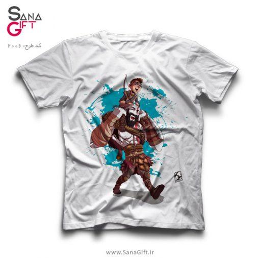 تی شرت سفید طرح کریتوس و پسرش | God of War