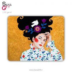 ماوس پد طرح نقاشی دختری با موی پریشان
