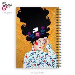 دفتر سیمی طرح نقاشی دختری با موی پریشان