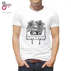 تی شرت سفید طرح گل و نوار کاست