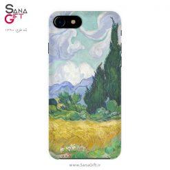 قاب موبایل طرح نقاشی مزرعه گندم با سروها - Van Gogh
