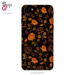 قاب موبایل طرح گل رز نارنجی و مشکی