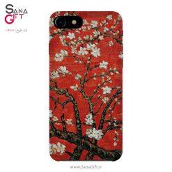 قاب موبایل طرح قرمز نقاشی شکوفه درخت بادام – Van Gogh